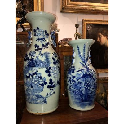 Deux Vases En Terre  Cuite Vernissée.