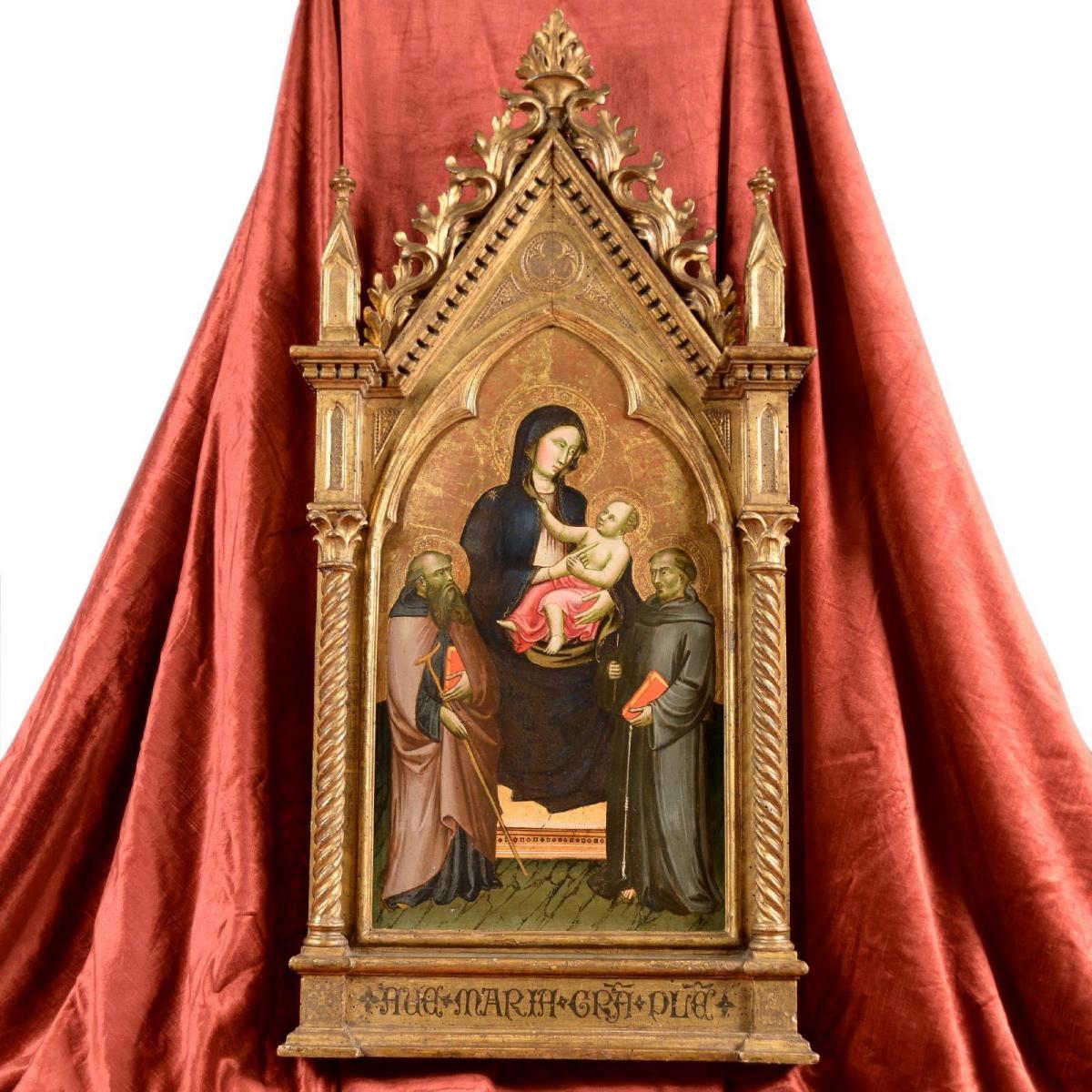 Tableau Tempera à l'oeuf Sur Bois Maître Sant'ivo Florence XIVe Siècle