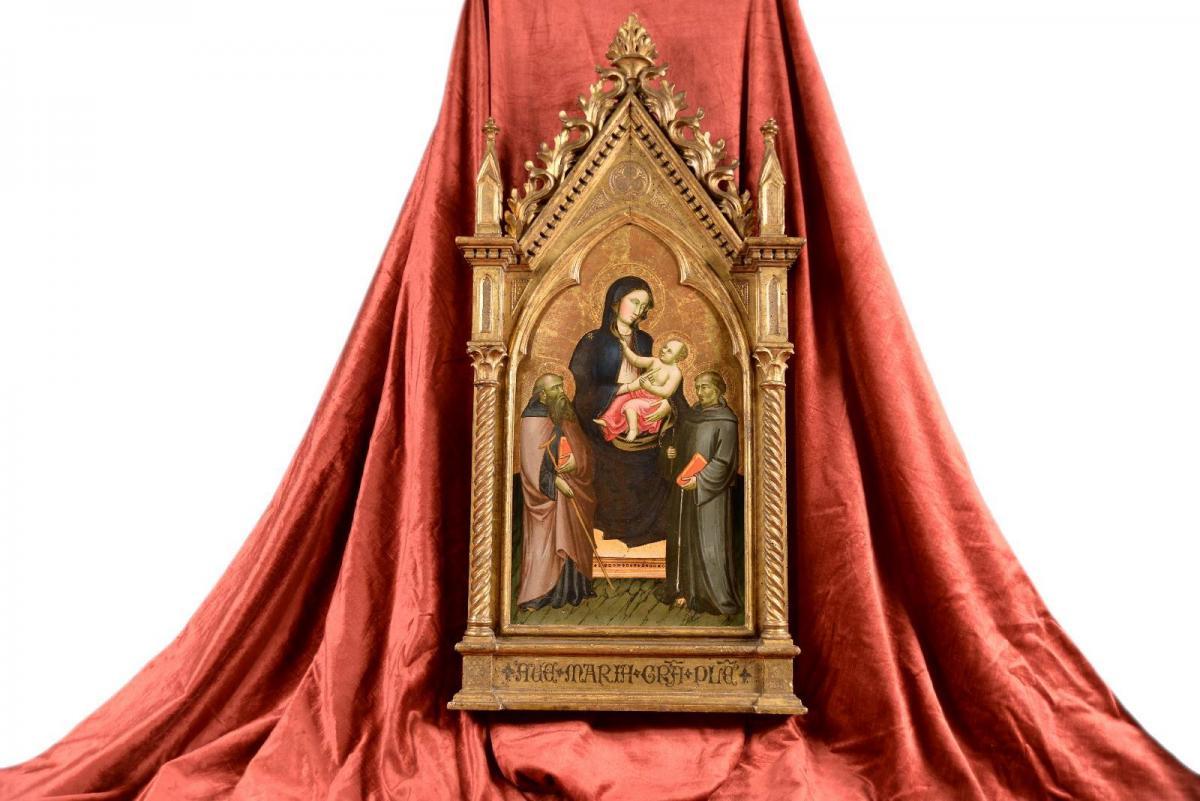 Tableau Tempera à l'oeuf Sur Bois Maître Sant'ivo Florence XIVe Siècle-photo-2