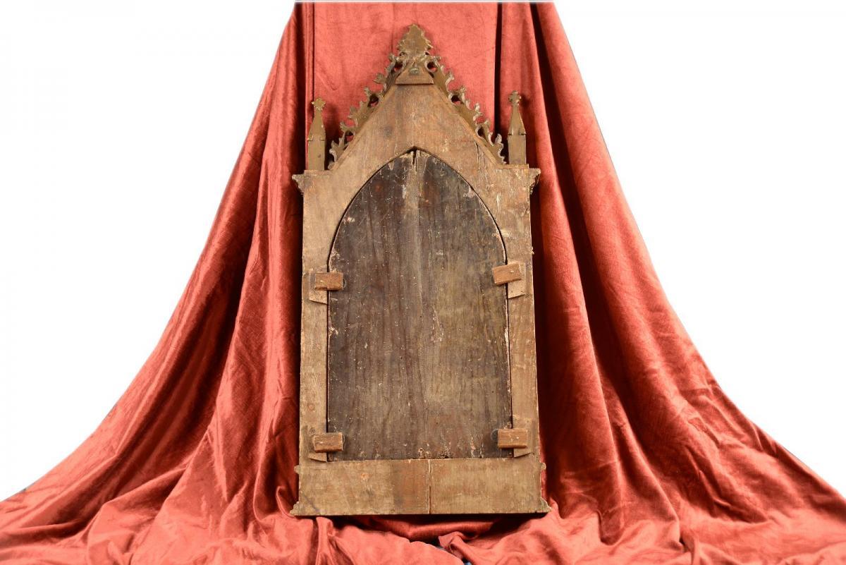 Tableau Tempera à l'oeuf Sur Bois Maître Sant'ivo Florence XIVe Siècle-photo-3