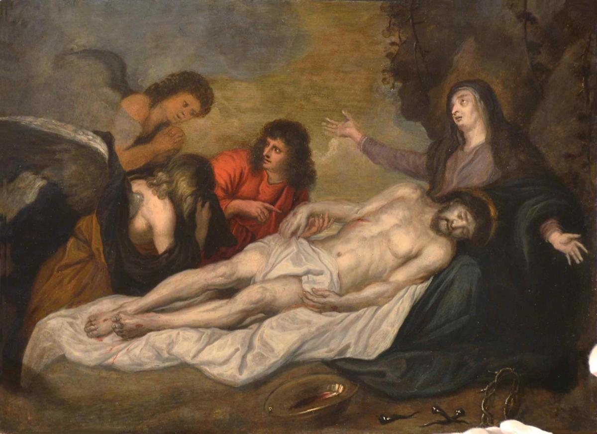 Déposition du Christ huile sur cuivre-photo-3