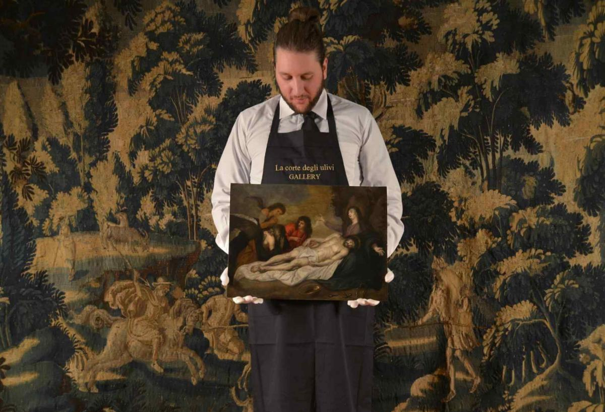 Déposition du Christ huile sur cuivre-photo-1
