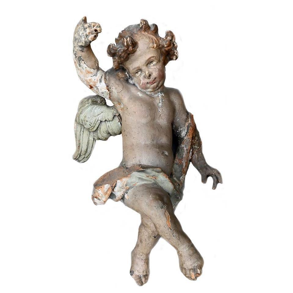 Ancienne Sculpture d'Ange Polychrome Du 17ème Siècle