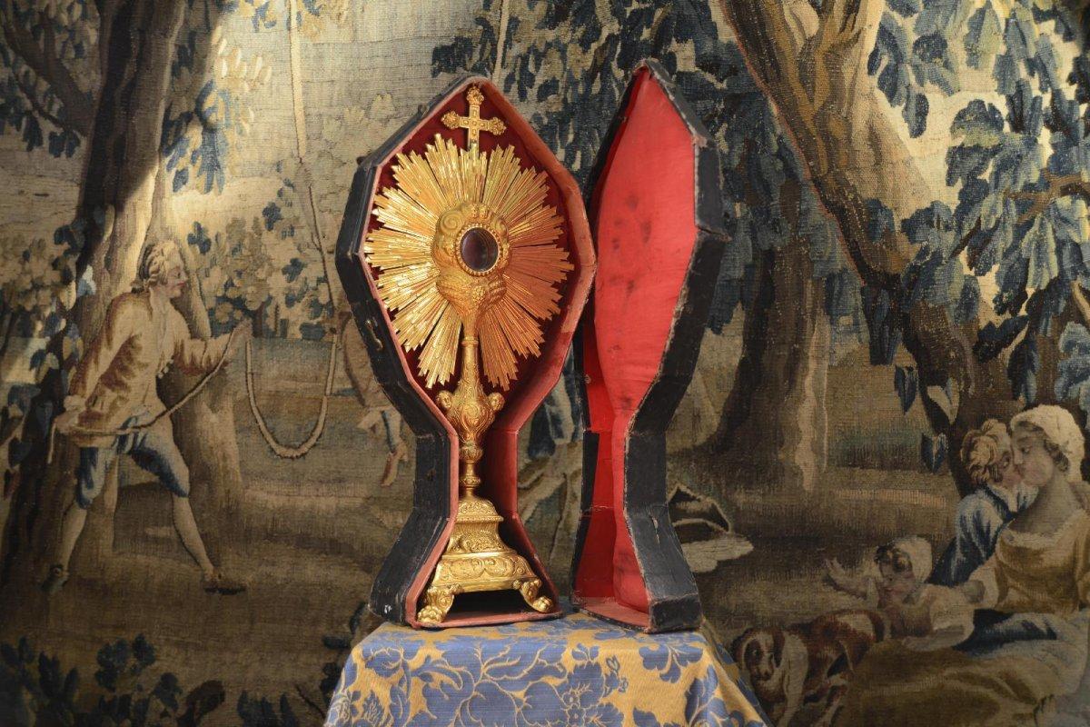 Ostensoir Antique En Argent Doré Du XVIIIe Siècle-photo-3