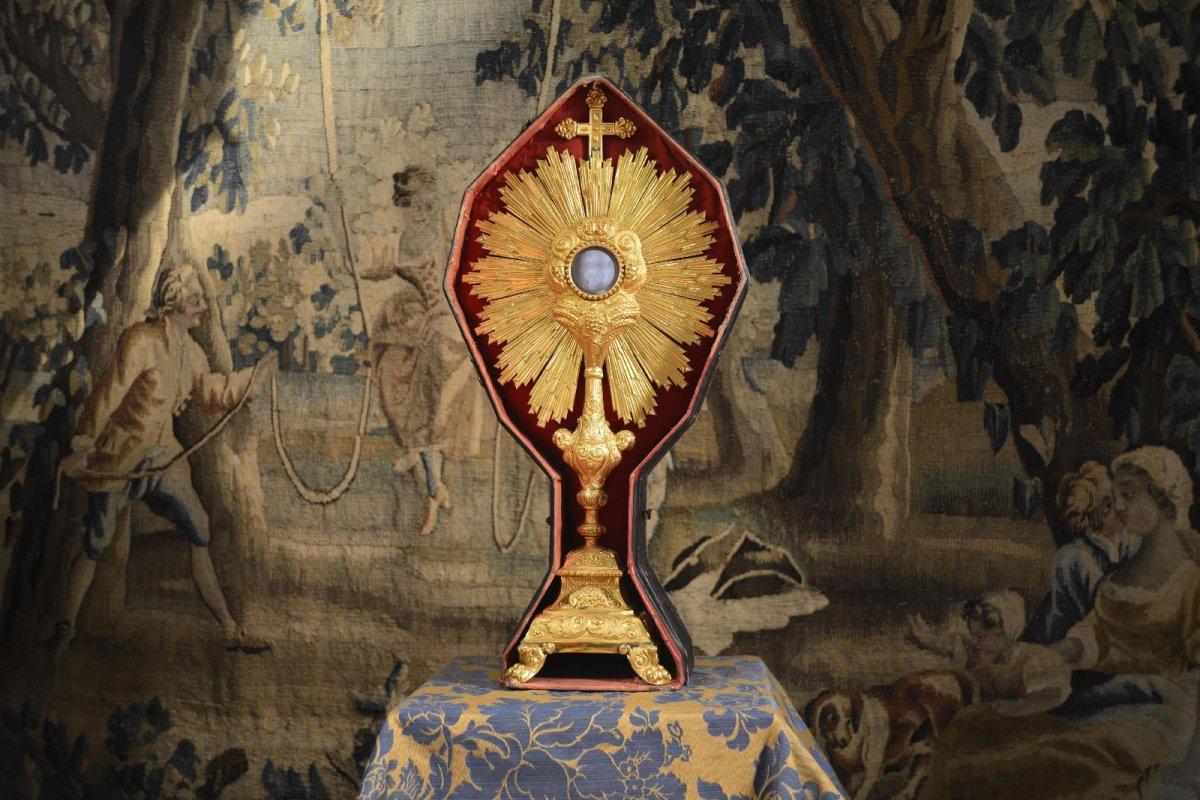 Ostensoir Antique En Argent Doré Du XVIIIe Siècle-photo-4