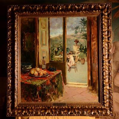 Petit Déjeuner En Terrasse, Vincenzo Irolli - XXème Siècle