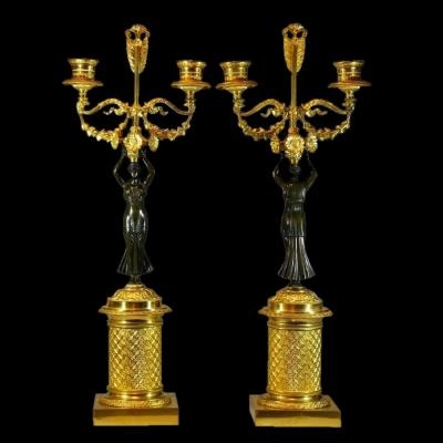 Pair Of Candelabra Empire Signed Wild