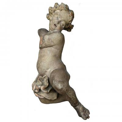 Polychrome Sculpture Of A Putto Pierre-paul Puget 17th