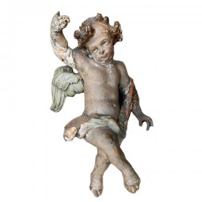 Ancient Polychrome Angel Sculpture From The 17th Century