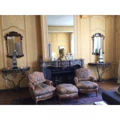 Pair Of Louis XV Consoles In Wrought Iron.