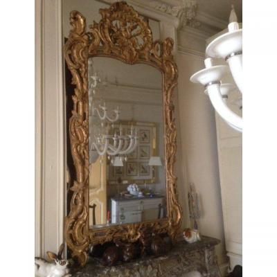 Miroir En Bois Doré Louis XV  d'époque XVIIIeme Siècle