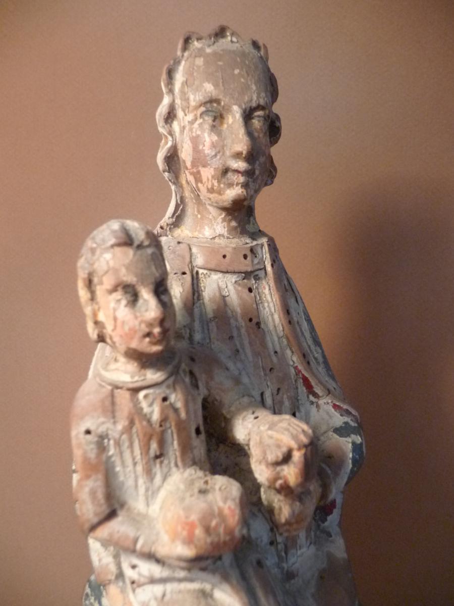 Vierge à L ' Enfant . Bois Polychrome 16 ° Siècle-photo-2