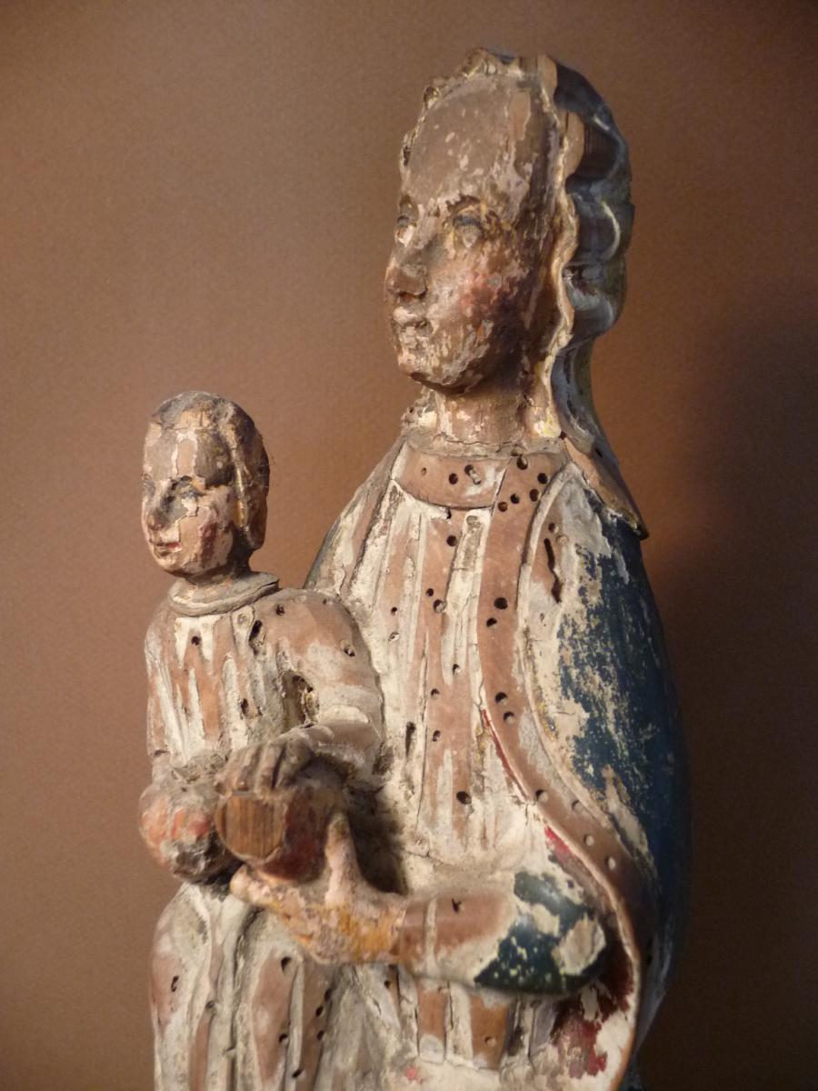 Vierge à L ' Enfant . Bois Polychrome 16 ° Siècle-photo-3