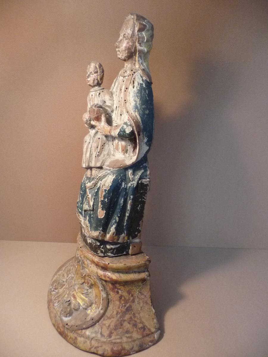 Vierge à L ' Enfant . Bois Polychrome 16 ° Siècle-photo-4