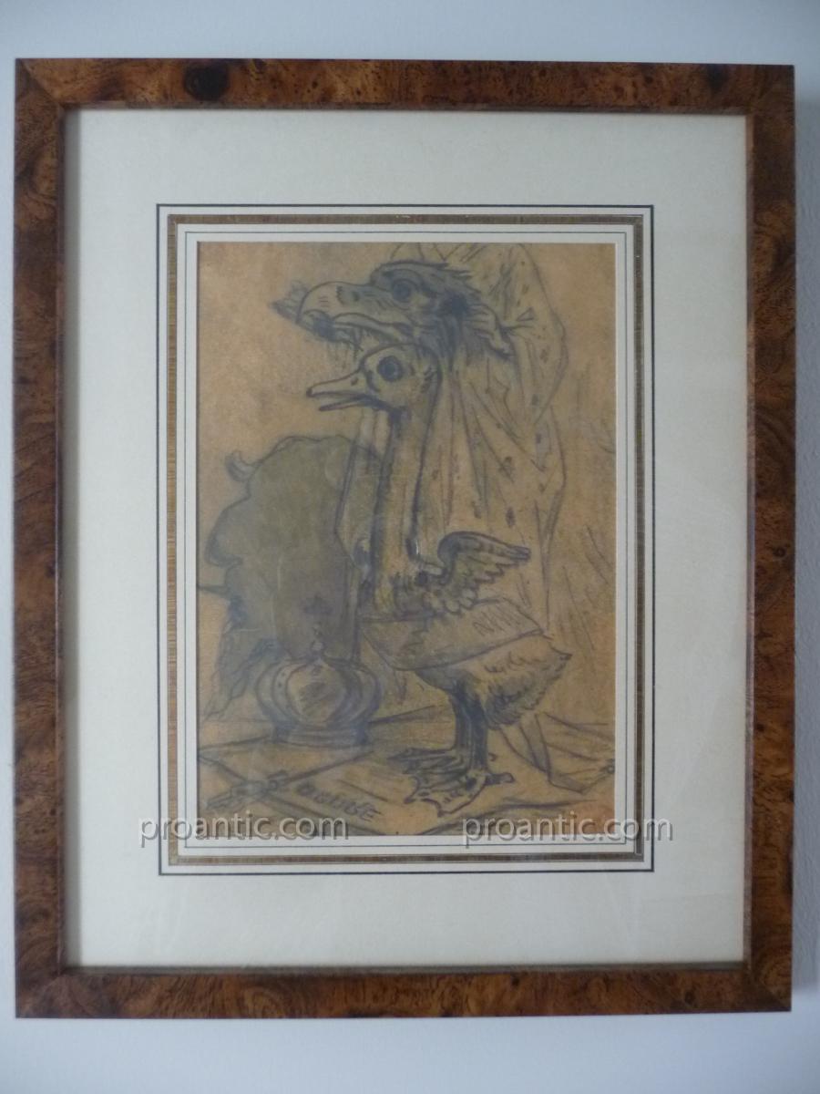 Alfred Grevin : Dessin Original Au Crayon