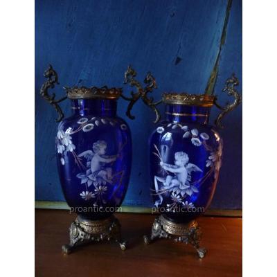 Pair Of Blue Glass Vases Enamelled