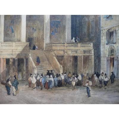 Aquarelle De Justin Ouvrié, Signée Et Datée 1833