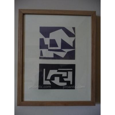 2  Collages Originaux d'Edgard Pillet  1912-1996
