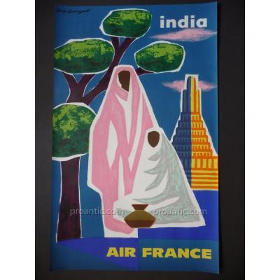 Displays Original Air India France Guy Georget 1963
