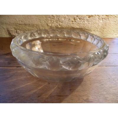 """Lalique : Coupe Cristal  """" Mésanges """""""