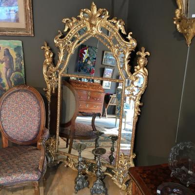 Grand Miroir Bois Doré D'époque Régence