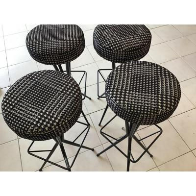 2 Bar Stools 1960s Lacquered Metal