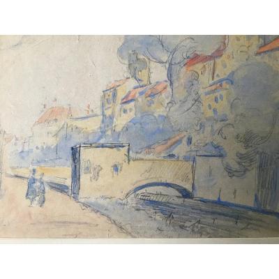 Louis Valtat Aquarelle Village Provençal. Monogram L .v. At The Bottom Left .