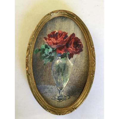 Blanche Odin  1865  -  1957.  Miniature  «   Roses  Rouges. «