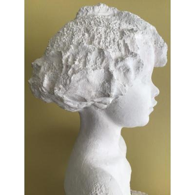 Bust Of Little Girl. Workshop Plaster Dated 1942 In Biarritz. Signature Not Identified.