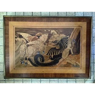 "Art Deco Marquetry. Mythological Scene ""bellophon Mounted On Pegasus Kills The Chimera"""