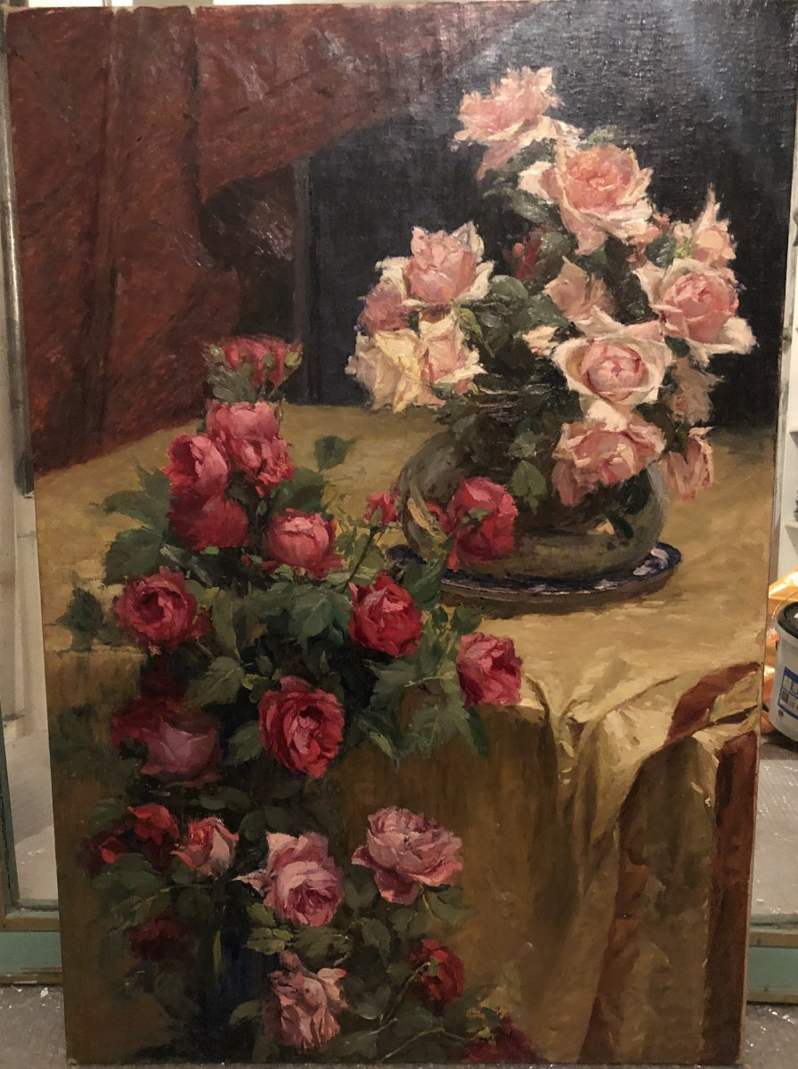 Nature Morte Aux Fleurs - Alexandre Tielens  (bruxelles 1879 – 1939)