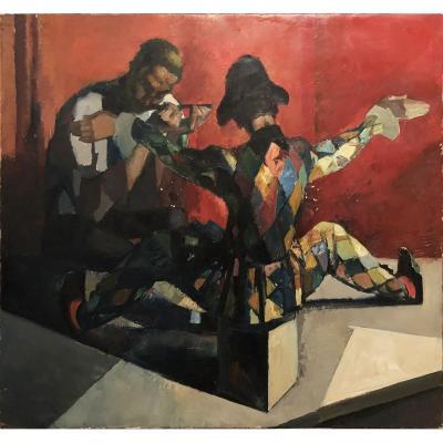 Jos Desmet (anvers 1894) - l'Arlequin - Huile Sur Toile