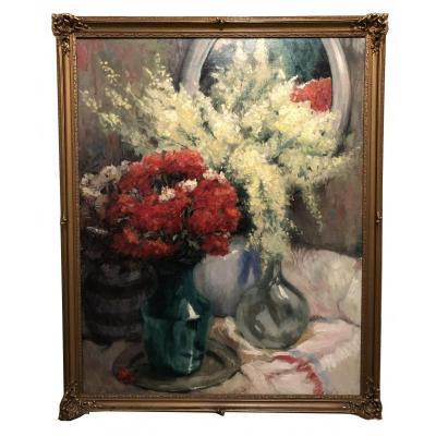 René De Pauw ( Pittem-Tielt 1887 – Bruxelles 1946) - Nature Morte Aux Fleurs
