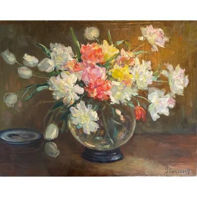 Hubert Glansdorff (ixelles 1877 - Knokke 1963) - Bouquet De Fleurs