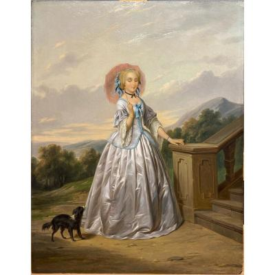 Woman With Umbrella - Unsigned 18th Century