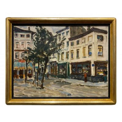 Maurice Paul (mons 1889 - Uccle 1965) - Marketplace In Ostende
