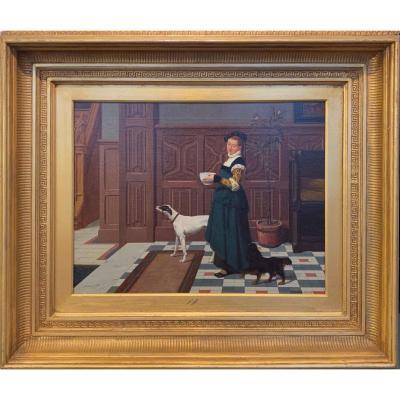 Alphonse Neumans  (belgique 1852 - 1893) - Scène d'Intérieur