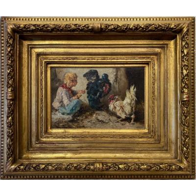 Henri Schouten (indonesia 1864 - Brussels 1927) - Little Boy With Chickens