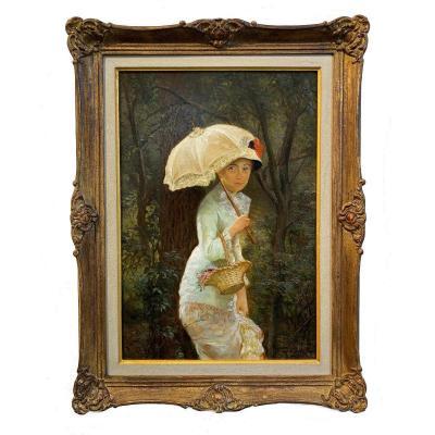 Edgar Farasijn (anvers 1858 - 1938) - Jeune Fille à l'Ombrelle