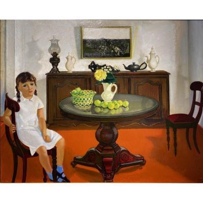 Léon Devos (petit-enghien 1897 - Précy-sous-thil 1974) - Scène d'Intérieur Avec Enfant