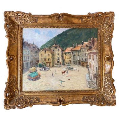 Oswald Poreau (schaerbeek 1877 - Waterloo 1955) - La Place De Saint Hippolyte