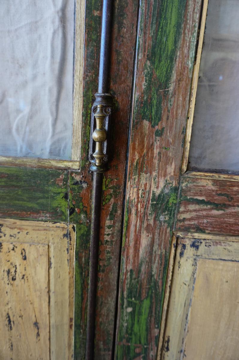 Paire De Portes Vitrées En Teck Polychrome