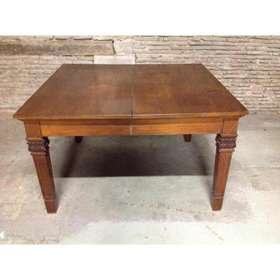 Table Extensible En Acajou Massif Rectangulaire à Bandeau