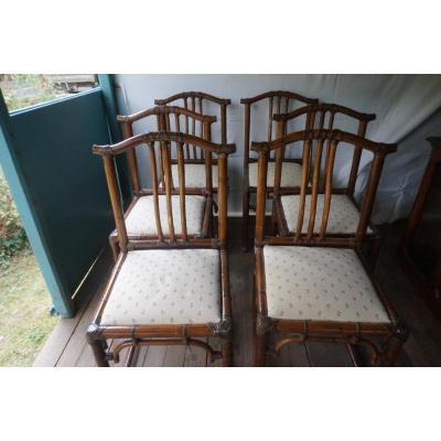 Suite De 6 Chaises En Bambou