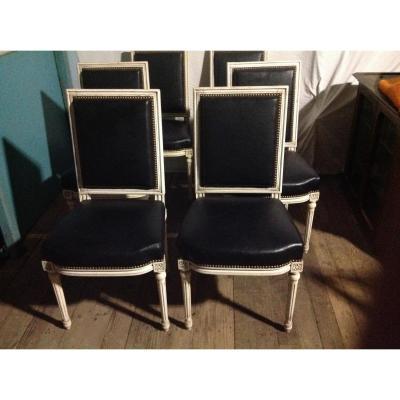 Série De 6 Chaises Avec Assise Et Dossier Cuir