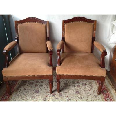 Beautiful Pair Of Armchair English XIXth