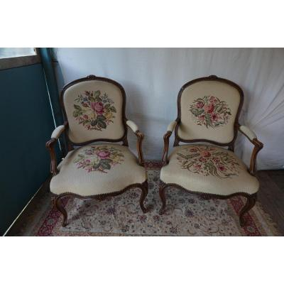 Pair Of Armchair A Queen Louis XV Style
