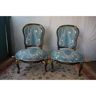 Pair Of Fireside Chairs Napoleon III