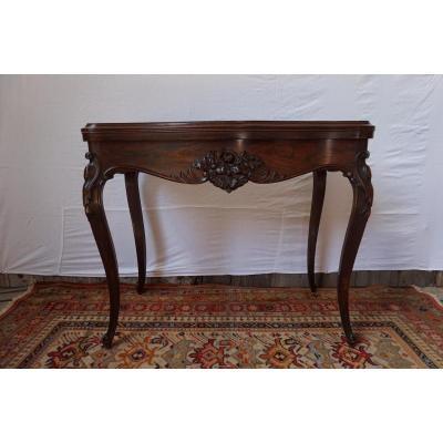 Table A JEUX EN PALISSANDRE XIXe