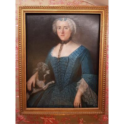 Huile Sur Toile Portrait De Femme 19 ème Siècle